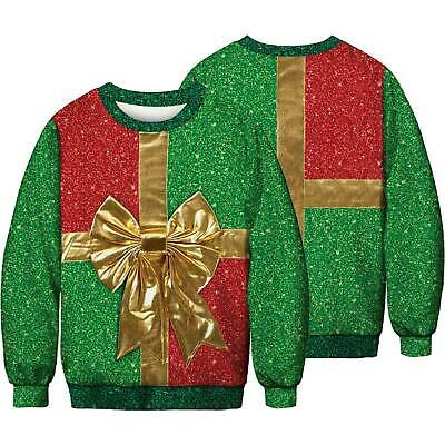 UGLY Christmas Mens Womens Hooded Sweater Sweatshirt Funny Xmas Pullover Tops US
