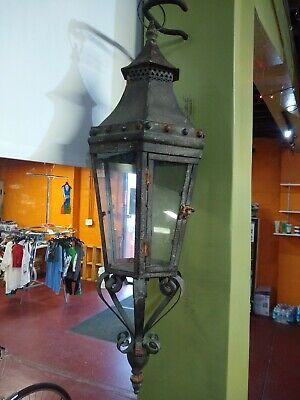 Spanish Revival Wrought Iron Hanging Candle Holder Gothic Antique Vintage