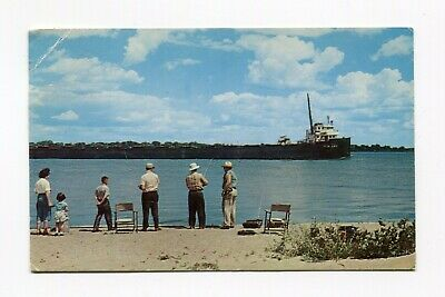 Postcard - 1958 Freighter Fishing on St Clair River Marine City Michigan