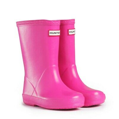SALE New Hunter Kids First Girls Wellies Wellington Boots Lipstick Pink Size 4