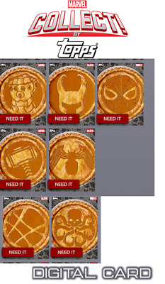 2019 PUMPKIN PIE COMPLETE SET OF 7 CARDS Topps Marvel Collect Digital