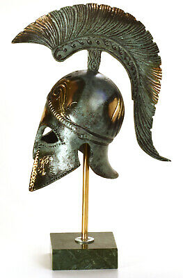Greek Helmet Corinthian Style Crested, Miniature With Stand
