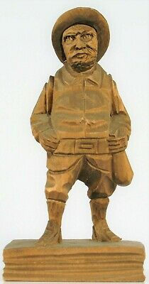 Vintage Beautiful Hand Carved Wood Folk Art Alaska Gold Rush Miner Panner Ak