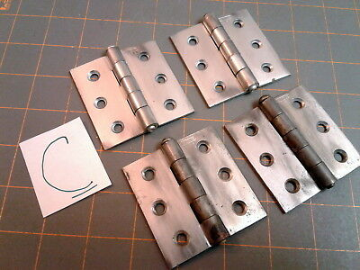 4 Butt Hinges Heavy Duty Lawrence USA Steel Vintage
