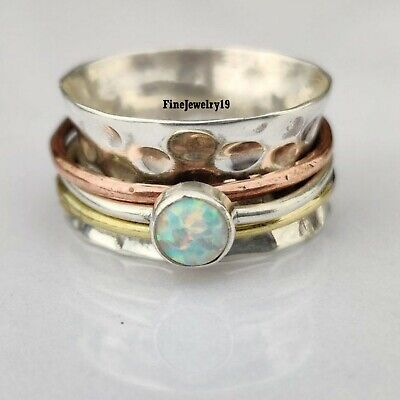 Ethiopian Opal Ring 925 Sterling Silver Spinner Ring Meditation Jewelry H117