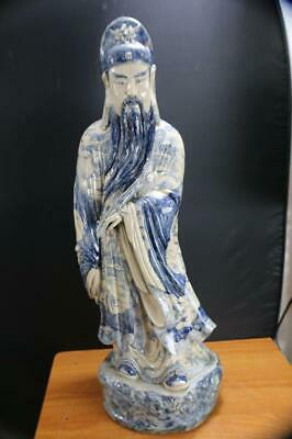"Very Fine & Large Chinese Porcelain Blue & White Statue figure Marked 32""H."