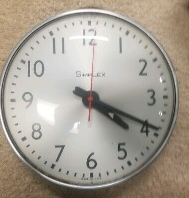 """Vintage 13"""" Simplex Glass Dome Office Industrial School Wall Clock 507-049"""