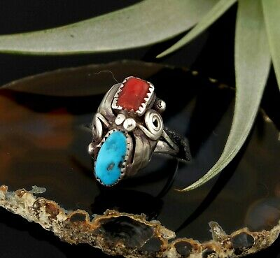 Vtg Sterling Silver Signed Navajo Red Coral & Turquoise Ring sz 7
