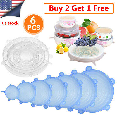 6pcs Reusable Silicone Stretch Lids Fresh Saver Food Kitchen Storage Wraps Cover
