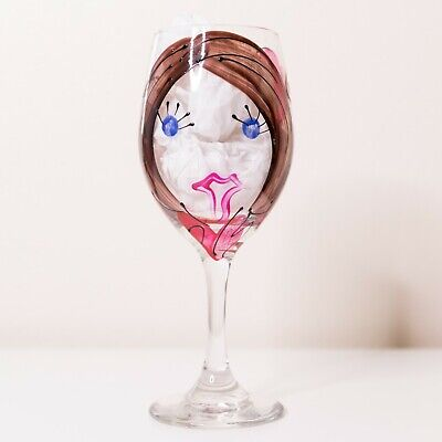 """NIB Handpainted Wine Glass """"Be Mine"""" Girl Talk by Leslie - Gifts for Her"""