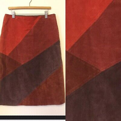 Vintage Suede Patch Skirt Size 10 Knee Length