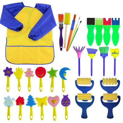 30×Kids Paint Brushes Sponge Painting Brush Tool Toy Set for Children Toddler