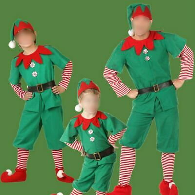 Kids&Adult Christmas Elf Cosplay Xmas Party Costume Stage Performance Costume US