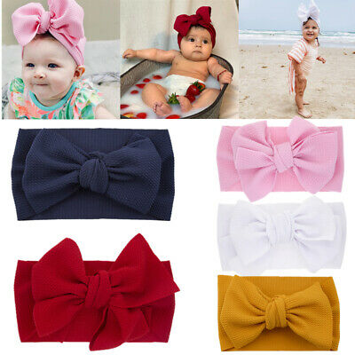 Large Bows Headbands Elastic Bow Cute Hair Band Bow-knot Newborn  Baby Girls UK