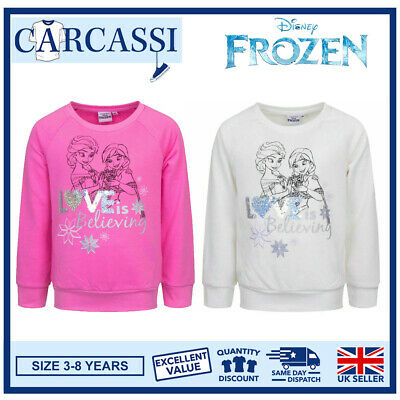 Childrens Kids Girls Pink Disney Frozen II Anna Elsa Sweatshirt Age 3-8 years