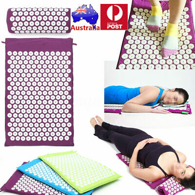 Massage Acupressure Mat Pillow Back Neck Pain Stress Muscle Relax Relief Yoga