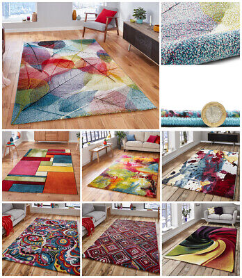Modern Trendy Floral Tropical Small Extra Large Multi Coloured Sunrise Think Rug