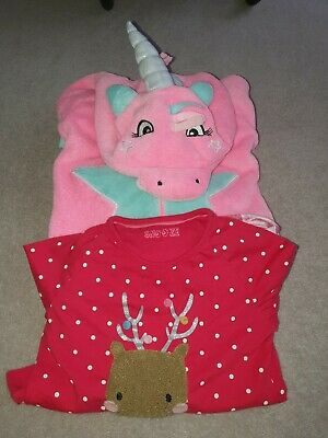 Girls TU Unicorn Pink All-in-one 6-7 And M&S Reindeer Pyjamas Bundle 7-8