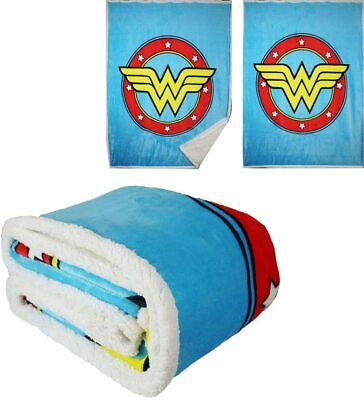 DC Justice League Flash Logo Flannel Borrego Sherpa Fleece Throw Blanket 50x60