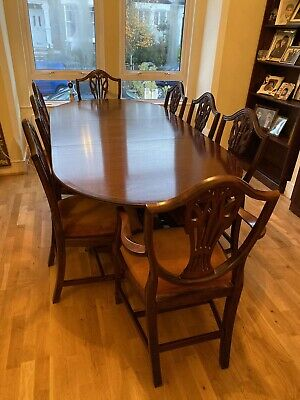 Rare Antique Mahogany Dining Table With 8 Matching Chairs (set)