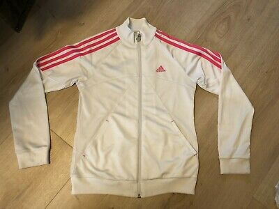 Girls adidas pink and white zip up tracksuit top age 12