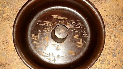 "***VINTAGE***MAHOGANY 9"" Wood en Japanese Nut Bowl"