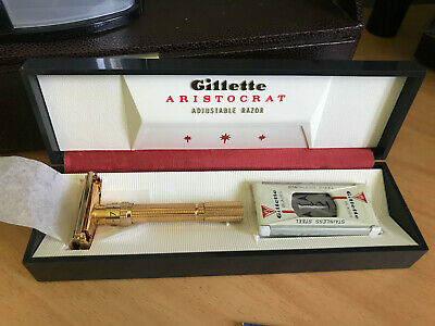 New 1964 Gillette Aristocrat J3 Adjustable 1-9 Safety Razor Gold Plated In Box