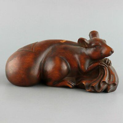 Collect Old Boxwood Hand-Carved Mouse Stole Wealth Bag Moral Bring Luck Statue