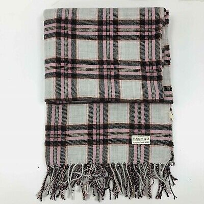 "JACK WILLS Wool & Acrylic Pink & Cream Check Pattern 116"" x 52"" Throw TH351919"