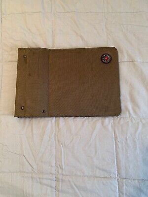 Vintage Nifty Magnetic Space Saver Notebook Binder Fabric Cover - Olive green
