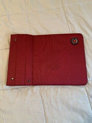 Vintage Nifty Magnetic Space Saver Notebook Binder Fabric Cover - Burgandy