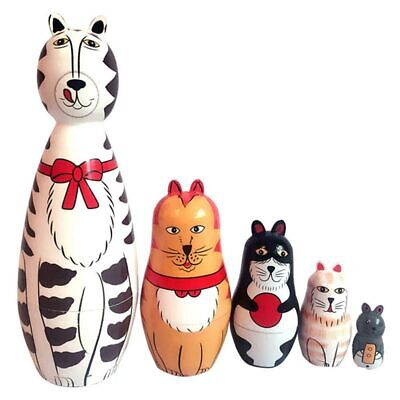 5 Layers Lovely Wooden Nesting Dolls Matryoshka Cat Animal Russian Doll Kid Gift