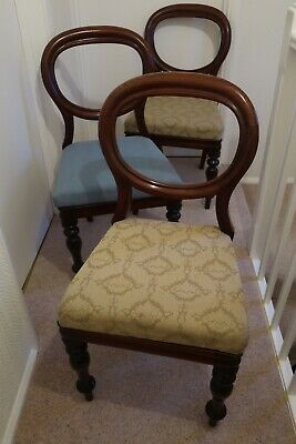 3 x Vintage Victorian Mahogany Balloon back dining chairs, very good condition