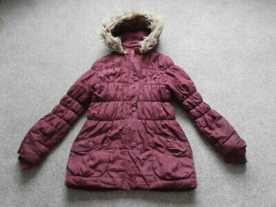 Age 12/13 Girls Burgundy  FLEECED  Lined  WARM QUILTED HOODED  Coat