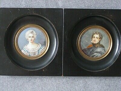 Antique French Original Miniature Portraits Pair 1800s Dumond - Damage to One