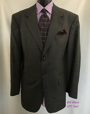 BILL BLASS Men's 2PC Suit Size 42L 3 Button W 36 2 Pleat Pants Wool Brown