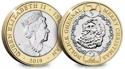 Isle of Man New 2019 Christmas £2 Coin