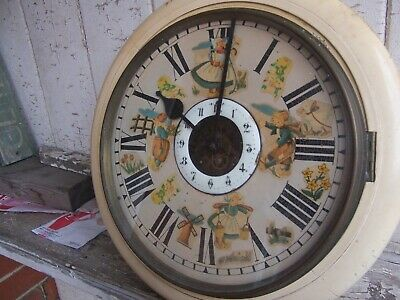 Vintage old painted case REX Station type striking wall clock with Dutch figures