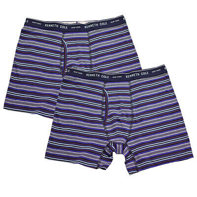 Kenneth Cole Men's 2 Pack Striped Purple Maroon Navy Boxer Briefs (S01)