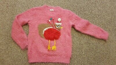 Girl's pink fluffy Christmas jumper by Next ~age 5-6 years~