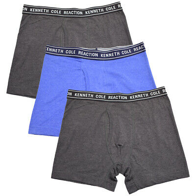 Kenneth Cole Men's 3 Pack Solid Charcoal Blue Charcoal Boxer Briefs (S05)
