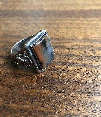 Vintage Antique Men's Western Ring Dendritic Moss Agate Jasper Sterling Silver