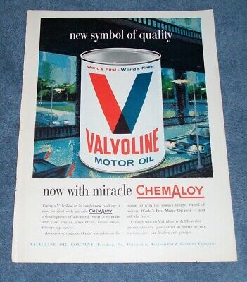 1960 Valvoline Motor Oil Vintage Color Ad with Chemaloy