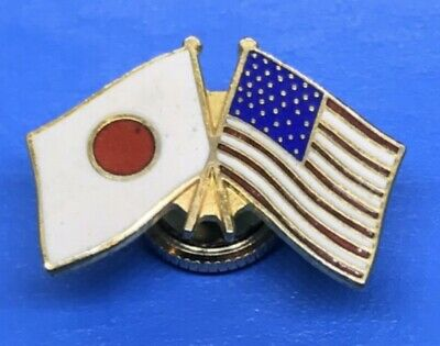 Japanese & American Flag Gold-Tone Collector Screw Back Lapel Pin Back Badge