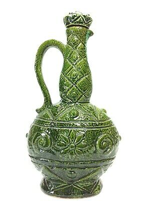 Vintage Retro Green Pottery Bottle Decanter