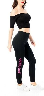 4Pack Pink,Gold,Sold White,White Outline  addicted Print Women One Size  Legging
