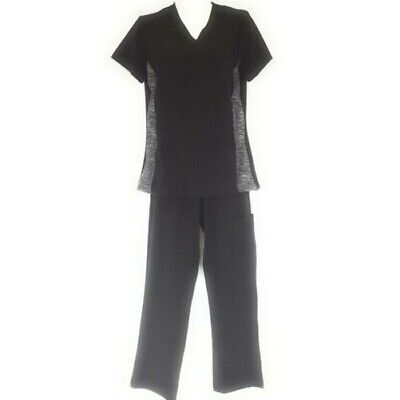 DSF Women's Four Stretch Scrub Set Heathered Mesh Side V-Neck Top Cargo Pants