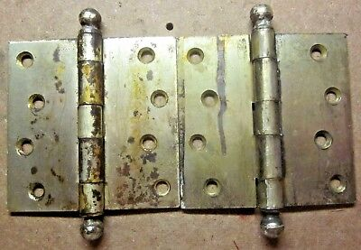 """Pair 2 Antique McKinney 4"""" Square Hinges Ball Tip Mortise Door Dull Brass Plated"""