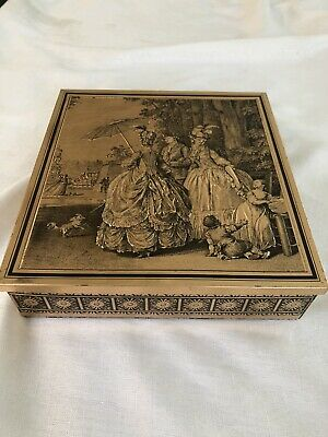 Vintage Brass Covered Biscuit Cake Tin With Medieval Design And Decorated Edge