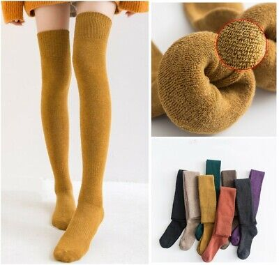 Womens 95%Cotton Over Knee Thigh-High Socks Cushioned Solid Warm Thick Stocking